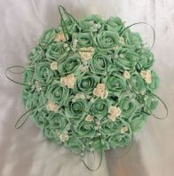 BRIDE WEDDING ARTIFICIAL BOUQUET MINT GREEN/IVORY FOAM ROSE WEDDING FLOWERS